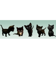 five cartoon cute black kitten in different poses vector image
