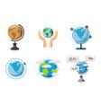global icon set cartoon style vector image
