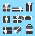 holiday presents gift box icon set different vector image