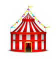 striped circus tent symbol amusement festival or vector image