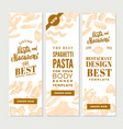 vintage italian pasta vertical banners vector image
