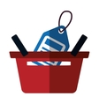 basket buying online blue price tag color shadow vector image