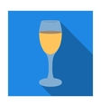 Glass of white wine icon in flat style isolated on vector image