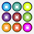 Notepad icon sign Nine multi colored round buttons vector image