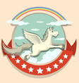 Logo design with Pegasus flying vector image