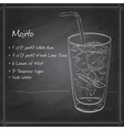 Mojito fresh cocktail on black board vector image