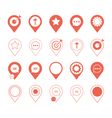 coral pin marker icon set with graphic elements vector image