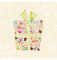 Ornamental Christmas gift box with reindeer vector image