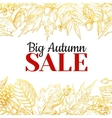 Autumn sale gold banner with leaves and vector image