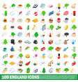 100 england icons set isometric 3d style vector image