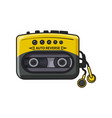 old fashioned black and yellow audio player vector image vector image