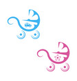 icons baby carriage blue and pink colored vector image