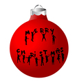 Christmas ball with children silhouettes vector image