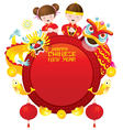 Chinese New Year Frame with Kids Dragon and Lion vector image