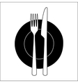 Fork and knife on a plate vector image