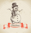 Christmas snowman hand drawn vector image