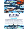 poster of fishing club fish seafood catch vector image vector image