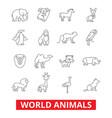 world animals giraffe zebra zoo parrot hippo vector image