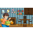 A mother sewing near the fireplace vector image vector image