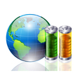 world and battery vector image