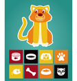 Funny cartoon cat and icons vector image vector image