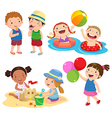 Children play on the beach vector image