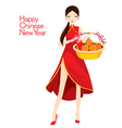 Beautiful Woman With Cheongsam Holding Basket vector image