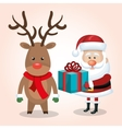 xmas card santa claus reindeer with gift blue vector image