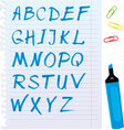 Alphabet set - letters are made of blue marker vector image vector image