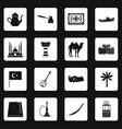 turkey travel icons set squares vector image