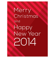 Merry Christmas and Happy New Year 2014 vector image vector image