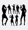 Girl with gun silhouettes vector image vector image