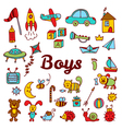 Boys design elements Cute hand drawn boys vector image