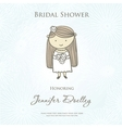 Bridal shower or wedding invitation with cute vector image