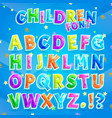 children font with blue background vector image