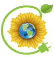 Sunflower and Globe vector image