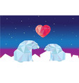 low poly polar bears sitting on ice and looking vector image