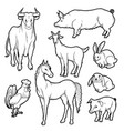 Black and white sketch set of isolated farm vector image