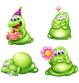 Four green monsters with different activities vector image vector image