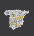 handdrawn map of spain vector image