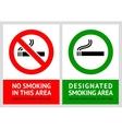No smoking and Smoking area labels - Set 13 vector image
