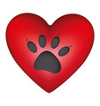 red heart shape with dog footprint icon vector image