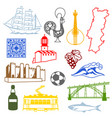 portugal icons set portuguese national vector image