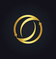 Gold arrow circle abstract logo vector image