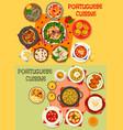 Portuguese cuisine seafood dinner menu icon set vector image