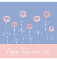 Roses with dash line stalks Happy Valentines Day vector image vector image