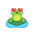 Cartoon Frog Character In Love vector image
