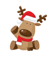 Christmas Reindeer with a raised right hoof vector image