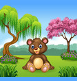 Cute funny bear sitting in the jungle vector image