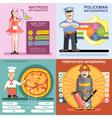Digital infographics icon set waitress vector image